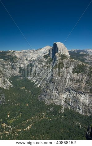 Clear skies shine down on Half Dome