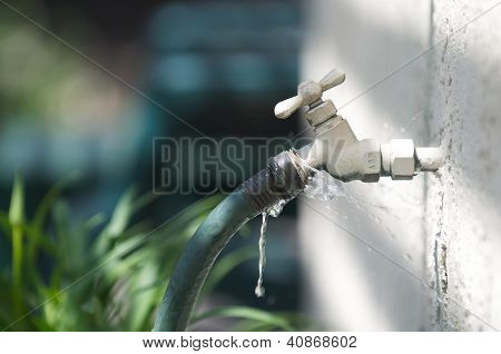 Water spigot with a green hose springs a leak