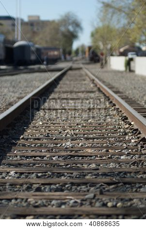 Railroad tracks with shallow depth of field