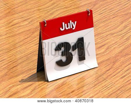 Calendar On Desk - July 31St