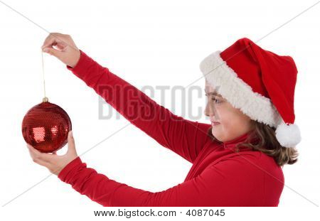 Beautiful Girl With Red Ball Of Christmas
