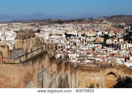 Castle walls and city, Malaga, Spain.