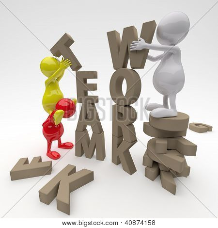 3D People Working On Teamwork Word