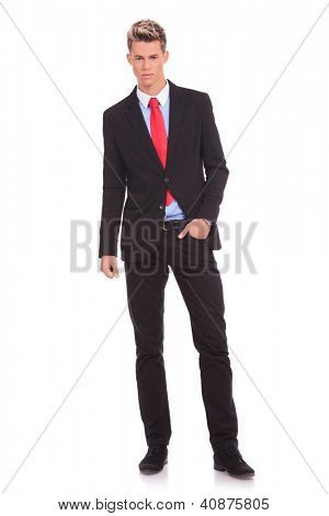 View of business man standing with hand in pocket
