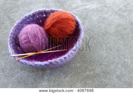 Crocheted Basket With Yarn
