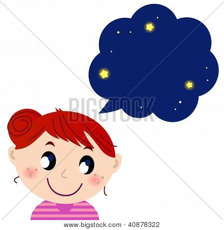 Little Cute Girl With Dreaming Bubble