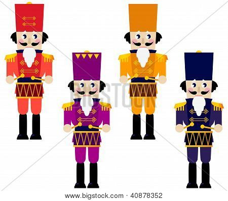 Colorful Retro Nutcrackers Set Isolated On White