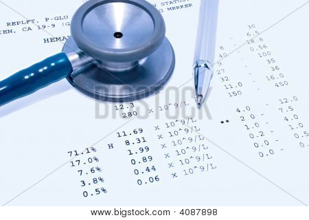 Stethoscope And Pathology Report