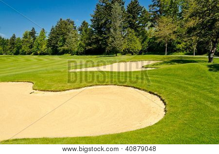 Sand bunker on the golf course with green grass and trees over blue sky.