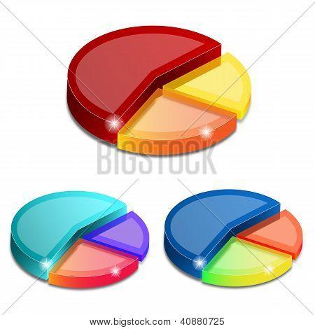 Gráficos 3D Pie aislados sobre fondo blanco, ilustración vectorial