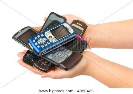 Mobile Phones In Woman Hands