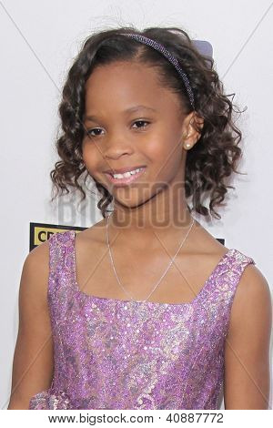 LOS ANGELES - JAN 9:  Quvenzhane Wallis arrives at the 18th Annual Critics' Choice Movie Awards at Barker Hangar on January 9, 2013 in Santa Monica, CA