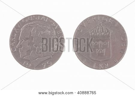 1979 Swedish 1 Kronor with Carl Gustaf coin isolated on white
