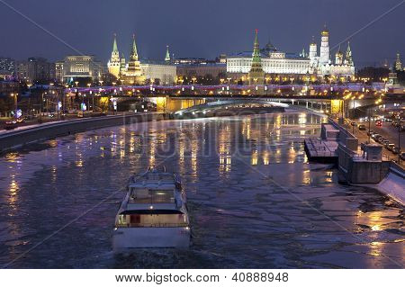 Kremlin Frozen River In Winter