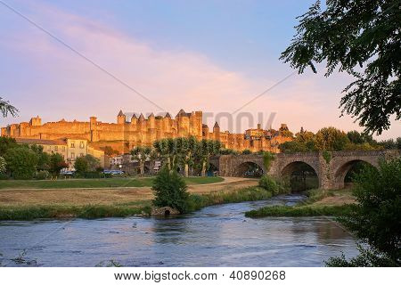 Carcassonne, France At Sunset