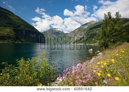 Beautiful landscape of Geiranger fjord (UNESCO heritage), Norway, Scandinavia