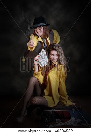 Two Fashionable Girls Portrait In Gangster Style