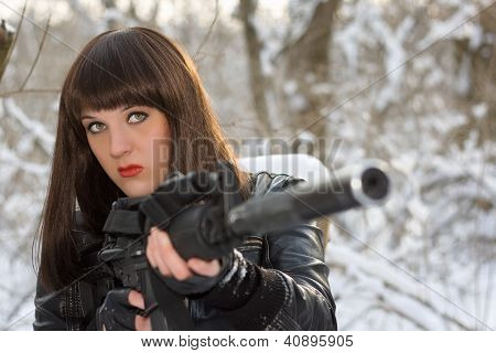 Strong Young Lady With A Rifle