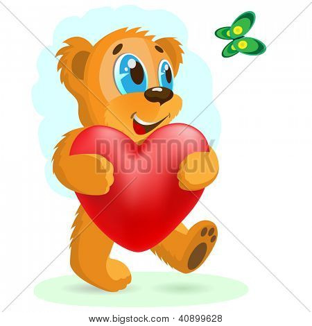 Happy bear with red heart. Vector illustration.