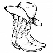 stock photo of boot  - Cowboy boots and hat - JPG