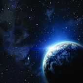 stock photo of orbit  - planet earth in the starry background - JPG