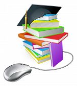 pic of convocation  - Online education training or learning concept a computer mouse connected to a stack of books with graduation cap on it - JPG