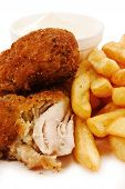 stock photo of southern fried chicken  - close up of crunchy breaded southern fried chicken with fries - JPG