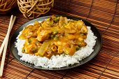 pic of curry chicken  - Chicken Curry with boiled rice a popular chinese food available at take aways - JPG
