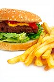 stock photo of baps  - gourmet cheeseburger with a homemade beef patty on a bed of lettuce with a side of fries - JPG