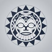 picture of maori  - Polynesian tattoo styled vector illustration - JPG