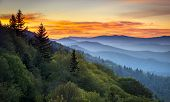 stock photo of gatlinburg  - Great Smoky Mountains National Park Scenic Sunrise Landscape at Oconaluftee Overlook between Cherokee NC and Gatlinburg TN - JPG