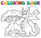 stock photo of kangaroo  - Coloring book with happy kangaroo  - JPG