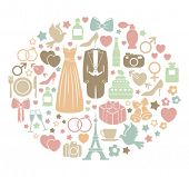 foto of ring-dove  - wedding invitation card with colorful icons - JPG