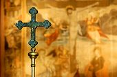 stock photo of crucifiction  - Two crosses in the church in Freiburg - JPG