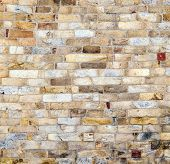 stock photo of qutub minar  - stones at the wall of Qutub Minar Tower the tallest brick minaret in the world Delhi India - JPG