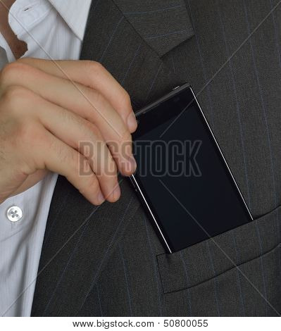 Executive saving or taking your phone in the jacket