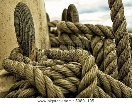 Yachting. Parts Of Yacht. Nautical Ship Rope.