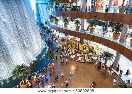 Waterfall In Dubai Mall - World's Largest Shopping Mall