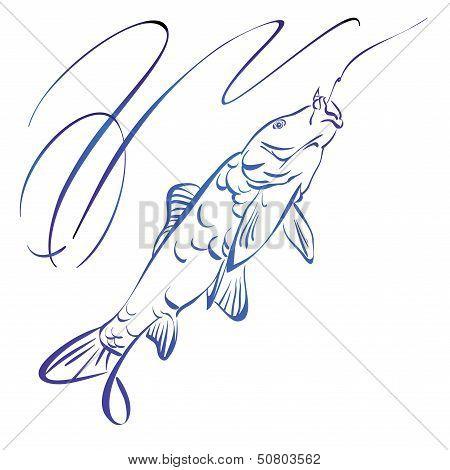 Fish symbol,  hand drawn vector llustration