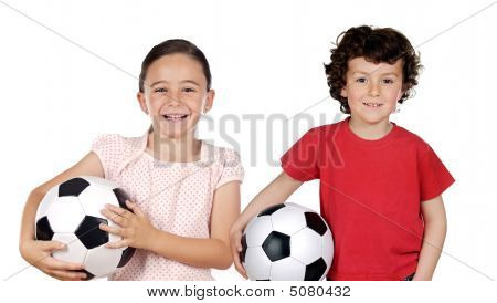 Two Adorable Children With Soccer Balls