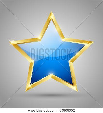 Blue Glossy Star