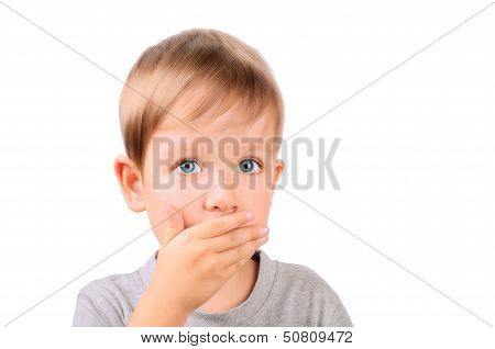 Boy 5 Years Shut By The Hand Mouth