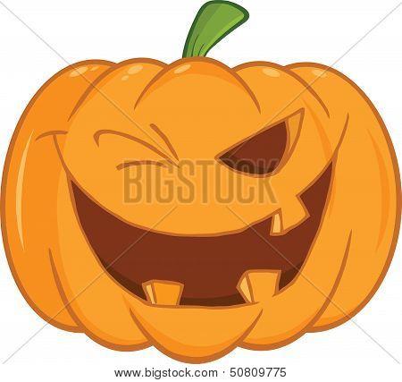 Scary Halloween Pumpkin Winking Cartoon Illustration