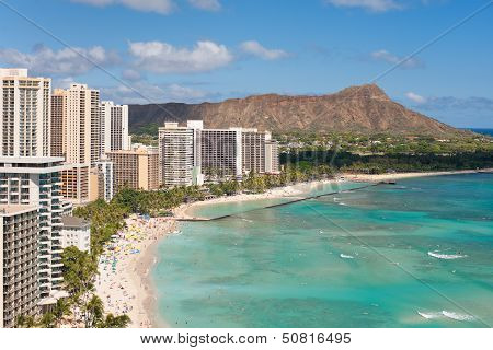 Scenic view of Waikiki Beach in summer day
