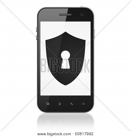 Protection concept: Shield With Keyhole on smartphone