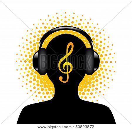 human silhouette with headphones