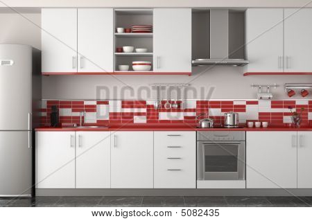Interior Design Of Modern Red Kitchen