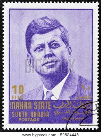SOUTH ARABIA - CIRCA 1967: stamp printed by South Arabia shows John Fitzgerald Kennedy circa 1967