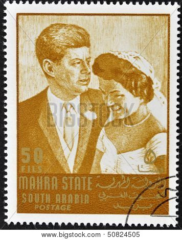 stamp printed by South Arabia shows Wedding of John Fitzgerald Kennedy and Jacqueline