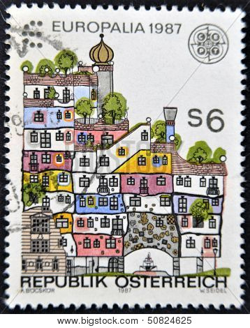 A stamp devoted to the festival of culture EUROPALIA-87 shows a Hundertwasser House Vienna